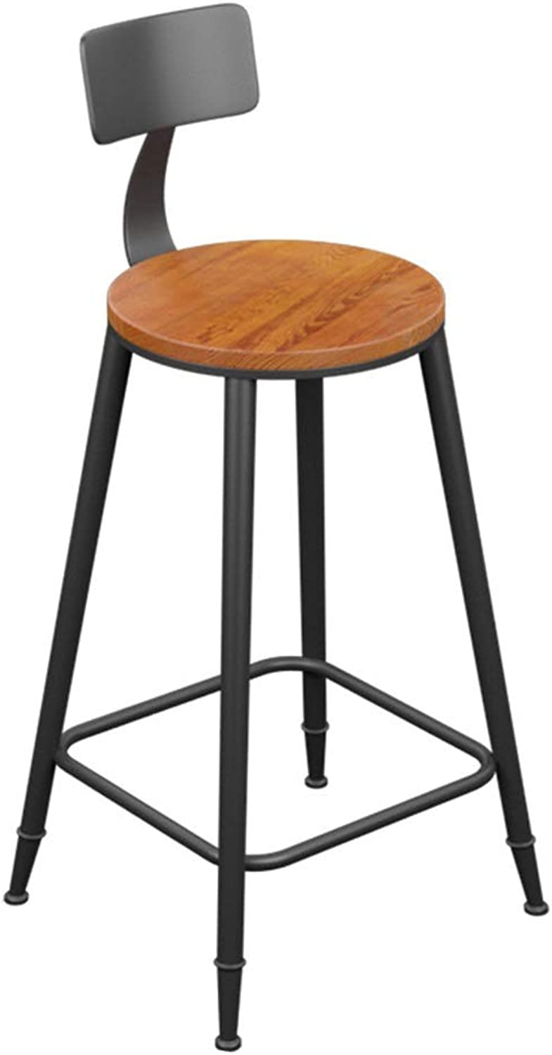 Modern Simple Bar Stool Designer High Leg Chairs with Back Iron Art Counter Seat Solid Wood Surface 0522A (color   with backrest, Size   78cm high)
