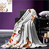 Floral Camp Chair Blanket Spring Themed Swirled Flowers Leaf and Butterfly Nature Foliage Elegance Motif Digital Printing Blanket Peach Vermilion