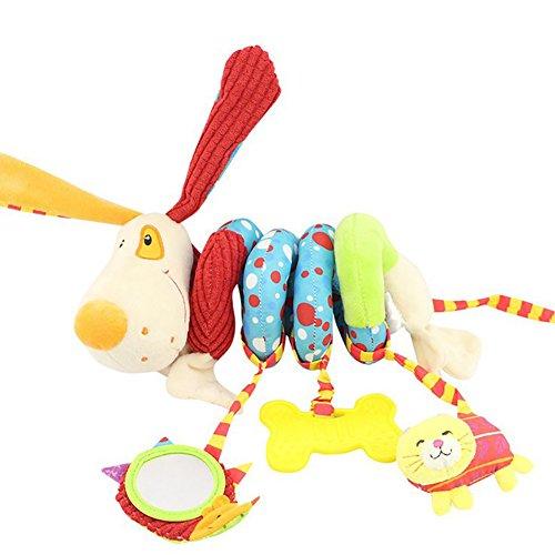 APig jouets bébé voyage avec miroirs de cloches, tout - petits jouets en peluche pour lit don spirale musicale poussettes siège (dog)