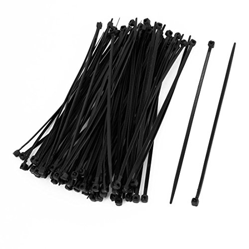 REFURBISHHOUSE 100 Pcs 150mm x 2mm electrique Cable Attache enveloppe Nylon fixation Noir