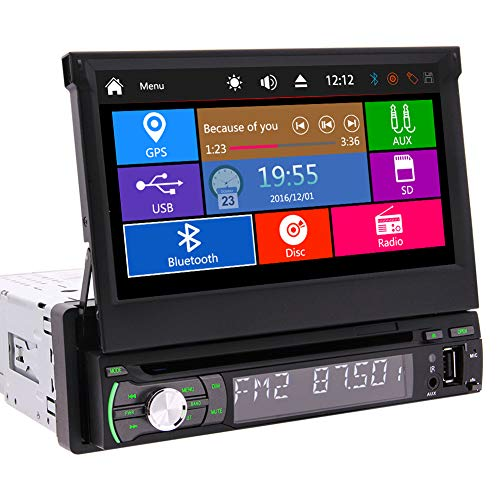 Car Single Din Radio GPS DVD Palyer in Dash Monitor 7 inch Capacitive Touch Screen Head Unit Support FM/AM/USB Detachable Front Panel GPS Navigation SWC Remote Control Camera-in