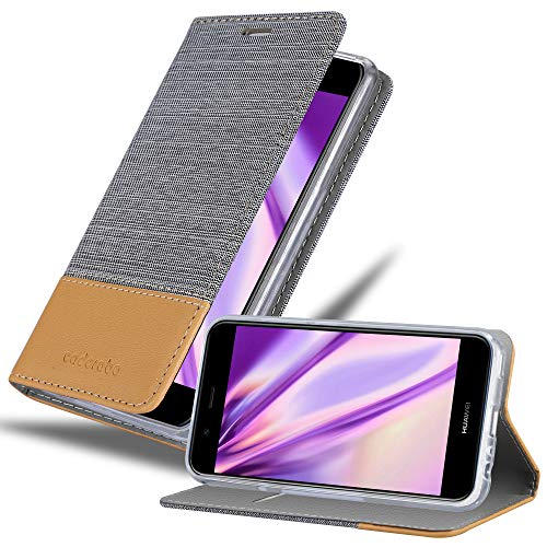 Cadorabo Hülle für Huawei NOVA 2 in HELL GRAU BRAUN - Handyhülle mit Magnetverschluss, Standfunktion & Kartenfach - Hülle Cover Schutzhülle Etui Tasche Book Klapp Style