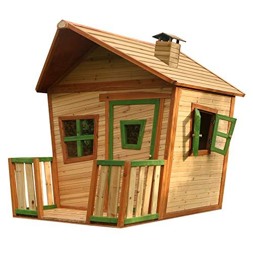 AXI Jesse Maison Enfant en Bois FSC | Maison de Jeux pour l'extérieur / Jardin en marron & vert | Maisonnette / Cabane de Jeu avec des fenêtres et véranda