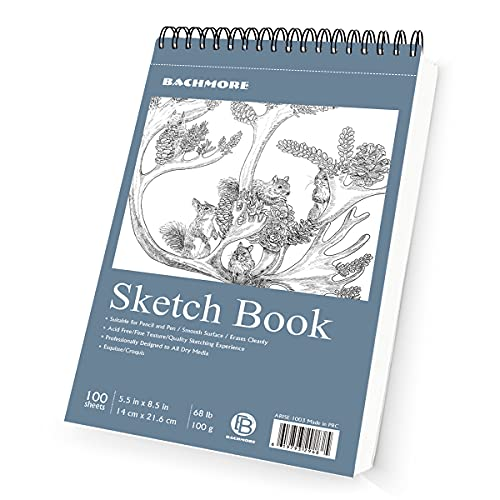 Bachmore Bloc de dibujo de 8.5 x 11.5 pulgadas (68 lb/100g), 100 hojas de espiral encuadernado en espiral para artista profesional y aficionados, arte marcador, lápiz de color, carbón para boceto