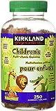 Kirkland Signature Children's Multi-Vitamin Gummies, 80% Organic Ingredient, 250 Gummies