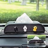Car Tissue Box Holder Storage Box Leather Paper Towel Sets, Bathroom Auto Armrest Box Dashboard Facial Napkin Organizer, Cute Cartoon Car Interior Tissue Holder (Color : F)