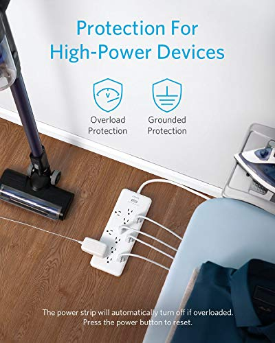 Anker Power Strip Surge Protector (2 × 4000 Joules), PowerExtend Strip 12 Outlets with Flat Plug, 1875W Output, 10 ft Extension Cord, Dual Surge Protection for Office, Home 3
