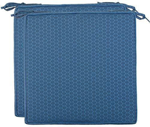 Brandsseller Outdoor Garten Sitzkissen Auflagen Kissen mit Paspel - Waben-Optik - Schmutz- und Wasserabweisend mit Befestigungsbändern - 40 x 40 x 4 cm - 2er Vorteilspack - Blau