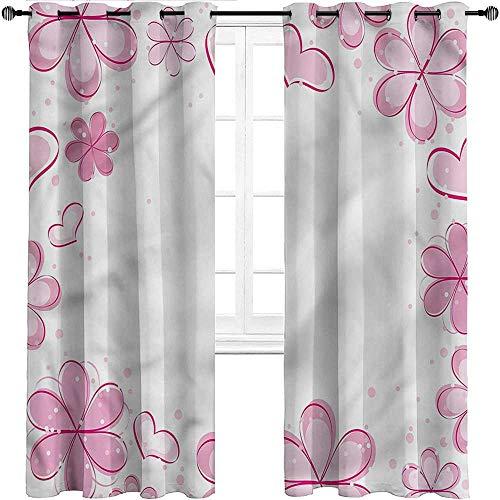 Unoseks LANZON Rideaux de fenêtre en tartan à rayures roses pâles à carreaux 100 % occultants pour soirées cinéma Art déco W108\