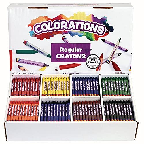 Colorations Regular Crayons – 8 Colors, Set of 800 (Item # CRRGS)