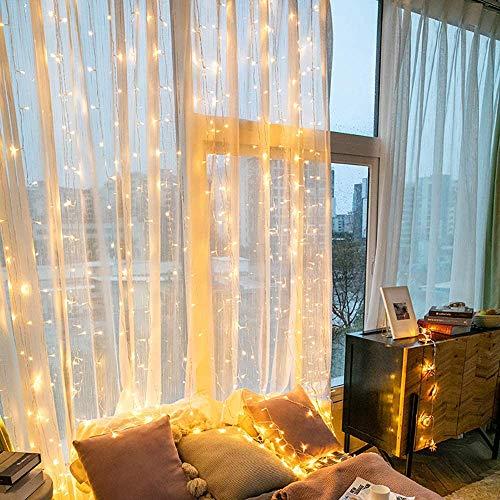 LED Lichtervorhang 6x3m 600 LEDs, IP44 & 8 Modi Lichterkettenvorhang, Lichterkette Wasserfall Anschließbar für Weihnachten, Party, Schlafzimmer, Innen und außen Deko (Warmweiß)