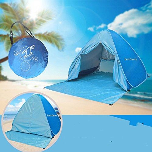 Tenda portatile con cerniera e sistema pop-up, da spiaggia, per esterni, anti UV, riparo dal sole, cabana istantanea per la famiglia, per il campeggio, la pesca o il giardino, Blue