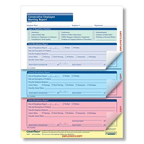 ComplyRight Consecutive Employee Warning Report 4 Part 50PK