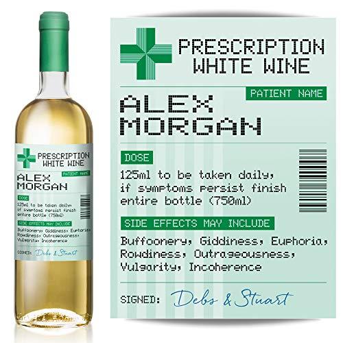 Personalised Prescription Wine, Gin, Vodka, Whisky, Rum Label – Fun Gift or Birthday idea