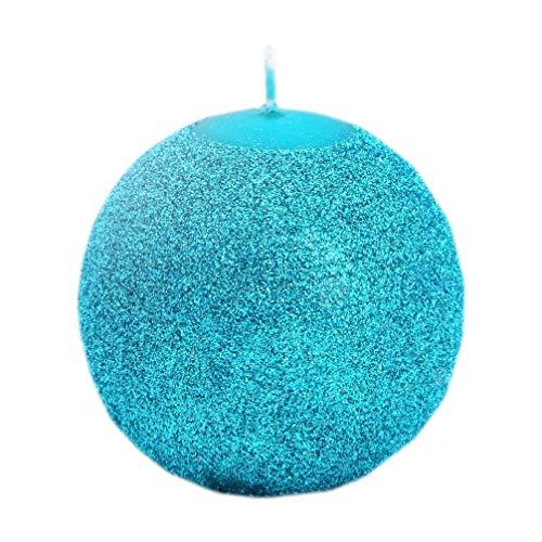 Kerze Deko glizternde Kugelkerze Iris türkis blau glänzend 80