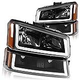 DWVO Headlights Assembly Compatible with 03 04 05 06 Chevy Avalanche Silverado 1500HD 2500HD 3500HD/ 07 Chevrolet Silverado Classic Headlamp (Black Housing)