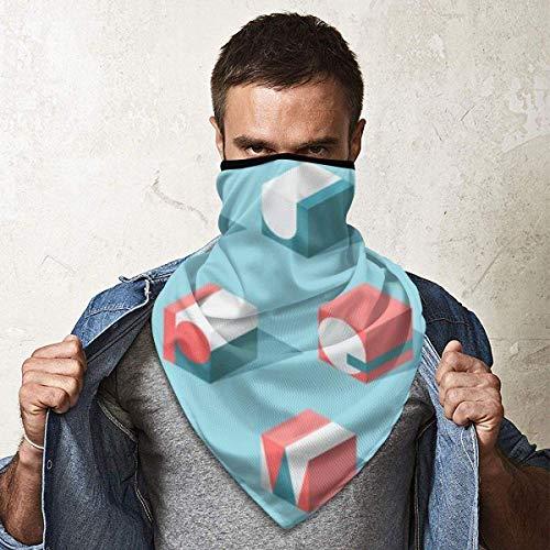 NA Máscara de esquí resistente al viento, máscara deportiva para el cuello, bufanda, letras isométricas, ABC educación moderna conceptual, pasamontañas, retención térmica