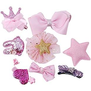 prelikes 10 Pcs Girl Bowknot Flower Hair Clip Multi-Style Bow Hairpin Ribbon Xmas Gift (Pink)