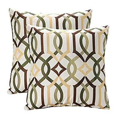 Pack of 2 SimpleDecor Jacquard Geometric Links Accent Decorative Throw Pillow Covers Cushion Case Multicolor 18X18 Inch Brown