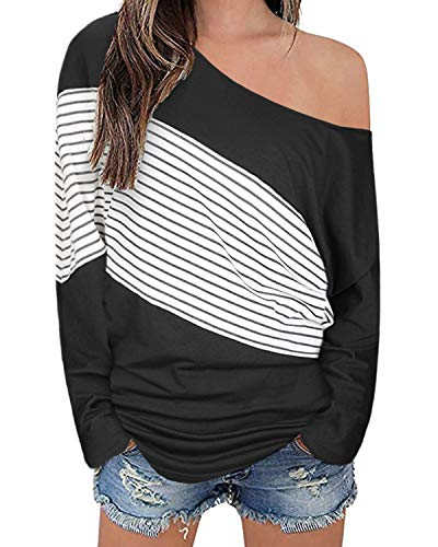 OUGES Women's Off Shoulder Casual Pullover Batwing Sleeve Tunic Tops Sweatshirts