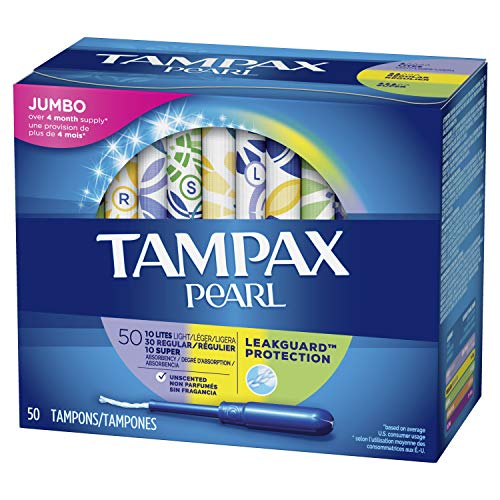Tampax Pearl Plastic Tampons, Multipack, Light/Regular/Super Absorbency, 50 Count, Unscented