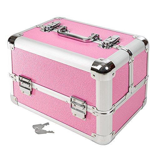 TecTake Trousse per cosmetici beauty per trucchi beauty case portagioie rigido valigetta (Rosa   401069)