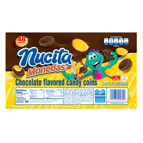 Nucita Monedas Gold Tray | Chocolate Flavored Candy Coins | St. Patrick's Day, Halloween, Birthdays, Weddings & Hanukkah | 48 Total Coins | 10 Ounce (Pack of 1)