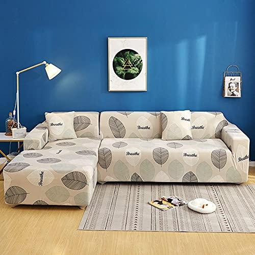 PPOS Funda de sofá Gris de Alta Elasticidad Funda de poliéster para sofás Fundas de sofá de Esquina universales ultrafinas Fundas de sofá seccionales D2 4 plazas 235-300cm-1pc
