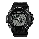 Men's Digital Watch Military Style Digital Watch with Waterproof Sports Watch Dual Timezone Alarm LED Backlight for Boys