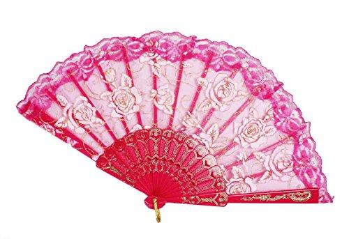 HAAC - Ventaglio in pizzo con rose o uccellini, 45 x 24,5 cm, colore: Rosa