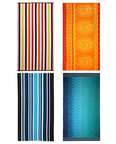 COTTON CRAFT Malibu Set of 4 Oversized Cotton Jacquard Woven Velour Beach and Pool Towels, 39 inch x 68 inch, Assorted