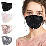 Sparkly Bling Sequin Face Mask for Women Glitter Rhinestone Reusable Breathable Adjustable Washable Cloth Cotton Fashionable Fancy Pink Black Female Lady Adult Unisex Fashion Pretty Facemask Madks