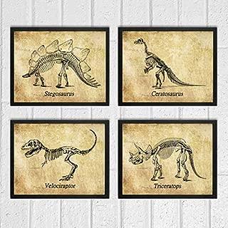 Dinosaur Wall Decor Art Prints Set of 4 8x10 Prints - Unframed - Boy Bedroom Illustration