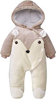 Winter Infant Baby Girls Boys Snowsuit, Zip Thick Hoodie Coat Jacket Jumpsuit One-Pieces Bodysuits
