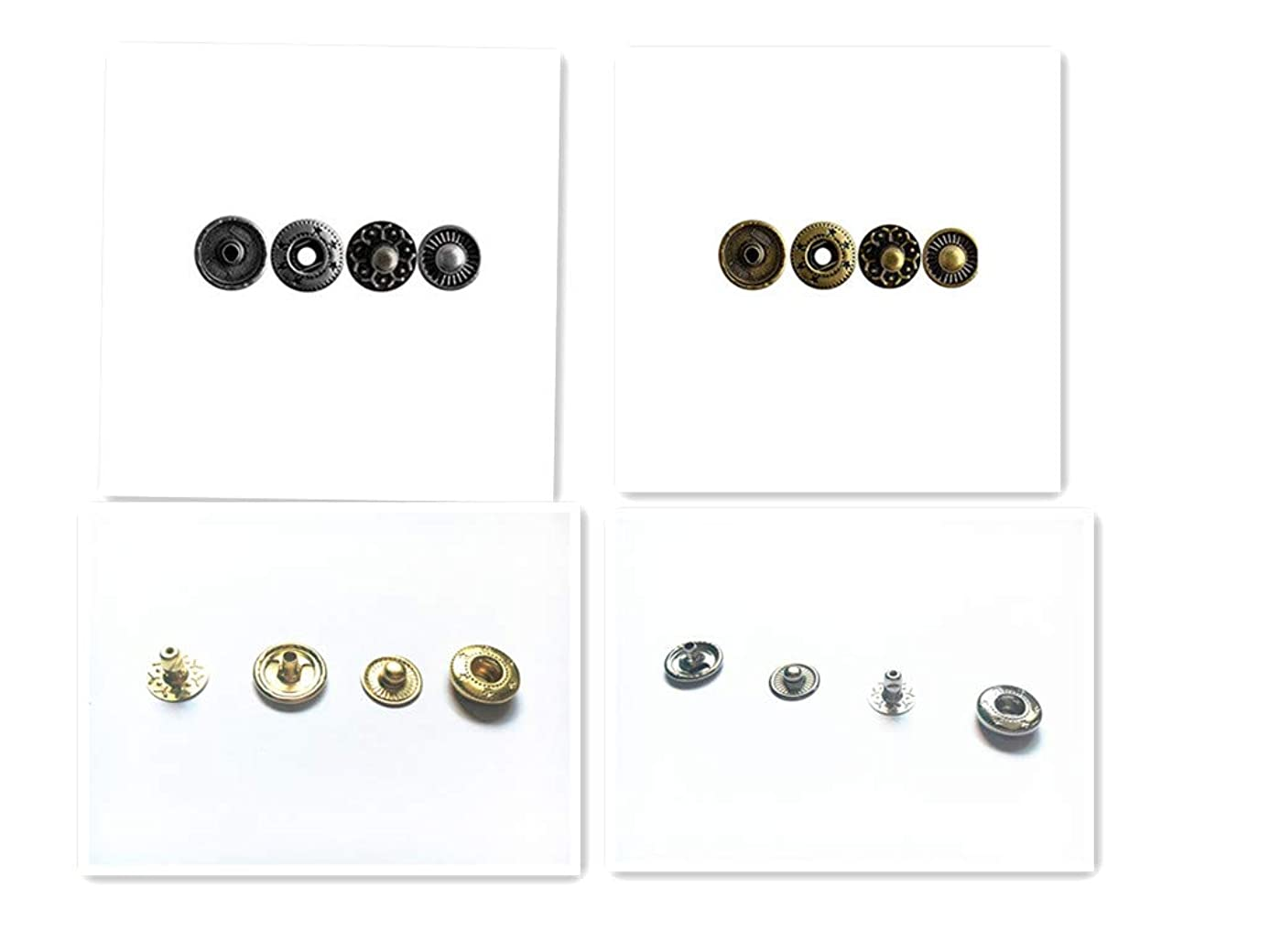 100 Sets 1/2 Inch Metal Snap Fasteners Leather Snaps Button Press Studs (4 Colors, 12.5mm)