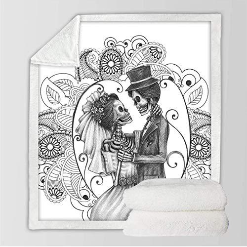 DJSK Skull Couples Sherpa Throw Blanket Ropa de Cama mullida Colcha Flores Rosadas Manta de Terciopelo Rojo Manta de Viaje para Acampar 150 * 200cm