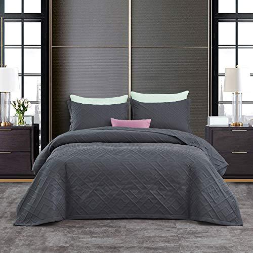 CHIXIN Tagesdecke 170x210 cm Bettüberwurf Steppdecke Patchwork Wendedesign Bettdecke Stepp Decke Doppelbett Geometrisches Fensterscheiben-Design, Dunkelgrau