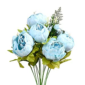 Mandy's Artificial Spring Blue Peony Silk Flowers Bouquet for Home Wedding Decoration