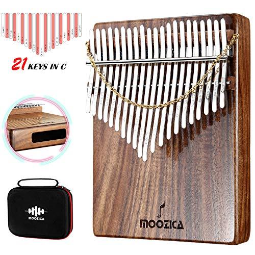 Moozica Kalimba Daumenklavier, 21 Tasten, hohe Qualität, professionelles Koa-Holz, Mbira, Finger- und Daumenklavier mit Hochleistungs-Tragetasche und Lernanleitung (Akazie Koa-K21K)