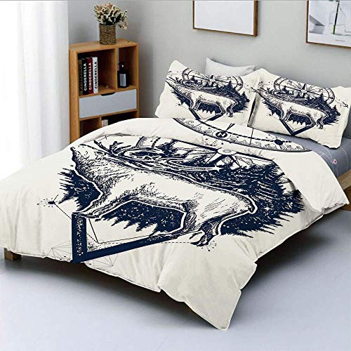 Duvet Cover Set,Reindeer and Compass Ethnic Tribal Travel Symbol Wilderness Forest Outdoors DecorativeDecorative 3 Piece Bedding Set with 2 Pillow Sham,Dark Blue White,Best Gif Easy Care A