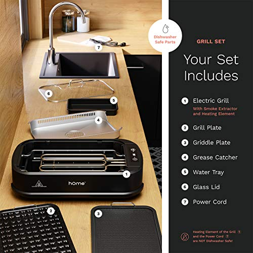 hOmeLabs Smokeless Indoor Electric Grill - Removable Non-Stick Grill Grates, Tempered Glass Lid, 1500W Fast Heating Element, Digital Temperature Control and Bonus Griddle Plate