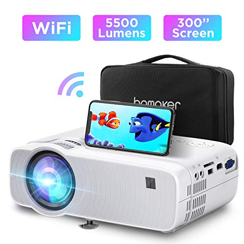 ABOX WiFi Beamer 5500 Lumen Unterstützt 1080P Full HD Wireless Projektor Max. 300'' Display Mini LED Dolby Sound kompatibel mit iPhone/Android Smart Phone/iPad/Mac/Laptop/PC…