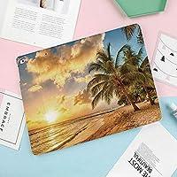 iPad Mini4 ケース 高級PUレザーケース オートスリープ機能付き 手帳型 全面保護 iPad mini4(7.9インチ)専用 スマートケース日没とココヤシの木の夏の写真で地平線と熱帯の砂浜