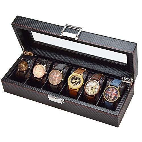 WZJ-Caja de Regalo Reloj de 6 dígitos Caja de Almacenamiento de Fibra de Carbono Completa PU Reloj de Madera Reloj de Cristal Caja de exhibición Caja de Embalaje