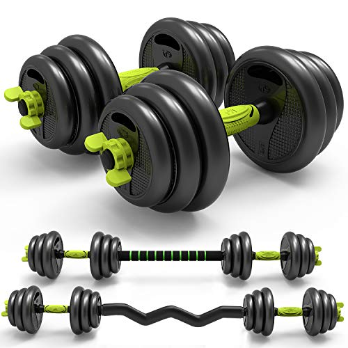 3in1 Adjustable Weight Dumbbells Barbell Set with Curved Rod Weight Set of 5/10/15/20/33/44 66 lbs for Adult Men Women Gym Workout Strength Training with Curl Rod Used as Barbell AB Roller 33