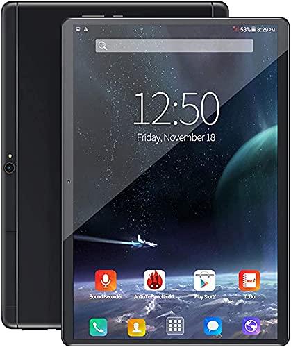 LXMTing Tablet Android 8.0, Estante de Pantalla táctil HD de 10'con Almacenamiento RAM + 128 GB, Tarjeta SIM Dual SIM SIM, WiFi, Bluetooth, GPS, Llamada telefónica 4G, 128 g,Negro,6+64