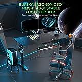 EUREKA ERGONOMIC Schreibtisch Computertisch PC Tisch Höhenverstellbarer Schreibtisch 60'' Großer Stabiler und Einfacher PC Computertisch mit Gaming Mauspad für das Home Office Schwarz - 2