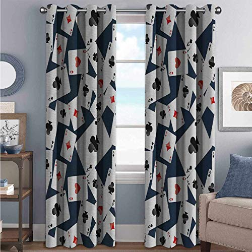 Review Casino Blackout Curtains with Grommets darken Realistic Style Random Scattered Playing Cards ...
