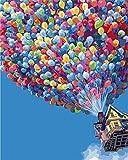 YEESAM ART Neuerscheinungen Malen nach Zahlen für Erwachsene Kinder - Bunt Heißluftballon Romantisch Haus 16 * 20 Zoll Leinen Segeltuch (Mit Rahmen, Ballon)