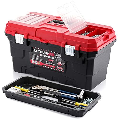 ToughHub Caja de almacenamiento de herramientas para manualidades de 22 pulgadas, caja de herramientas con cerradura, bandeja de mano, 32